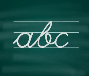 Handwritten ABC on blackboard