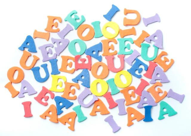 Collection of plastic vowels